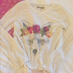 Mudd Long Sleeve Soft V-Neck Top Wolf w/Flowers